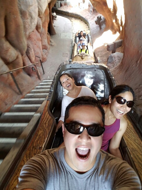 Before the big drop in Splash Mountain